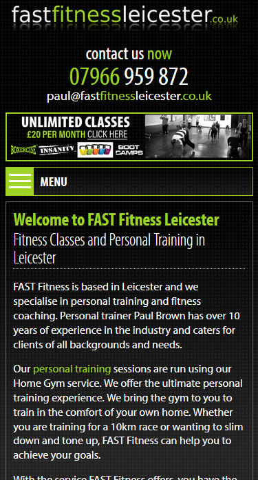 FAST Fitness Leiceser Mobile Site