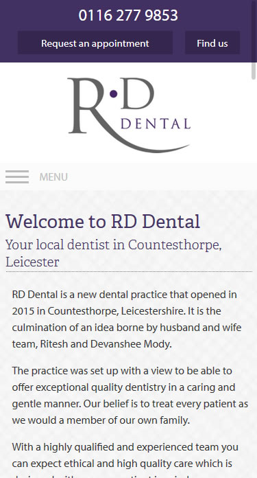 RD Dental Mobile Site